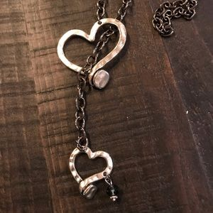 Jewelry - Silver Double Heart Bolo Statement Necklace